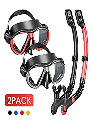OMORC Snorkel Set for Couples,2 Pack Anti-Fog Tempered Glass Snorkel Sets,Free Breathing Anti-Leak Snorkeling Package Set,Snorkel Gear for Adult Youth,Snorkel Kit Bag Included