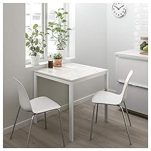 DiscountSeller MELLTORP Mesa, mármol blanco, 75x75 cm, duradero y fácil de cuidar. Hasta 4 asientos, mesas de comedor, mesas y escritorios. Muebles respetuosos con el medio ambiente.