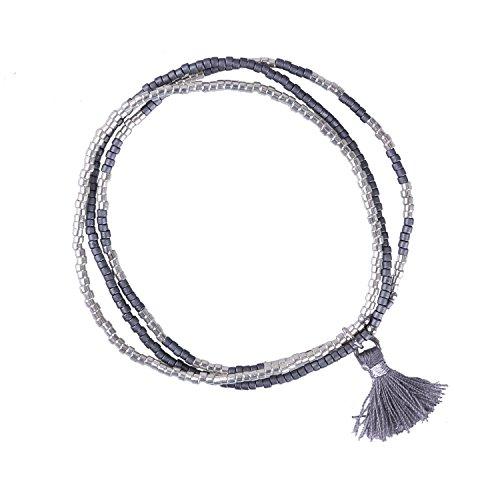 KELITCH Multi Strang Strecken Armband Samen Perlen String Mit Tassel, Grau