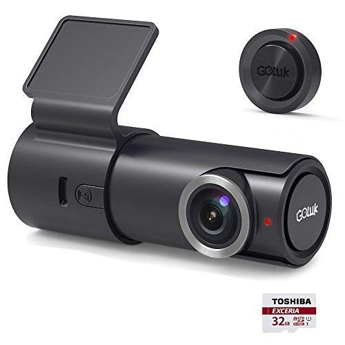 Goluk T2 Full 1080P HD 152°WDR In Car Dash Cam Camera DVR Digital Driving Video Recorder for Real Time Video Sharing with Parking Mode, HDR & Super Night Vision with 32GB SD Card