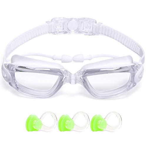 Gafas de natación con lente de espejo para niños adultos antivaho sin fugas - Blanco - Large