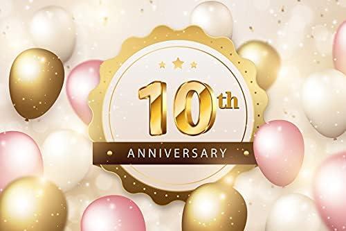 OERJU 10x8ft Anniversary Party Outstanding Backdrop Gold Boston Mall Pink Photo Balloons