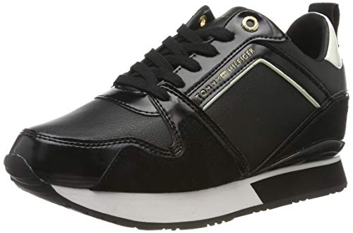 Tommy Hilfiger Leather Wedge Sneaker, Zapatillas para Mujer, Black 990, 39 EU