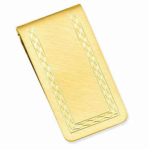 Clip de dinero chapado en oro de 14 quilates sólido grabado pulido con área grabable florentinada, regalo para hombres