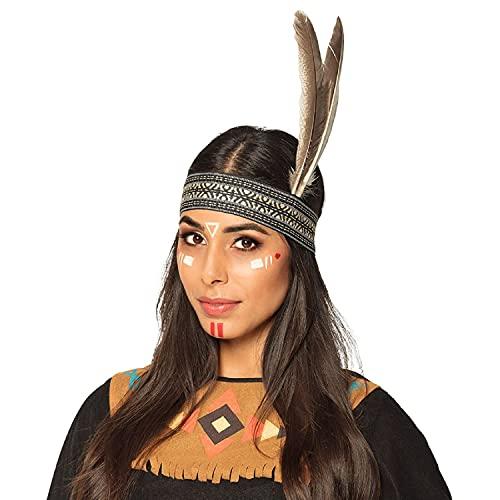 MIMIKRY Diadema con patrón étnico y plumas de ganso para disfraz de india