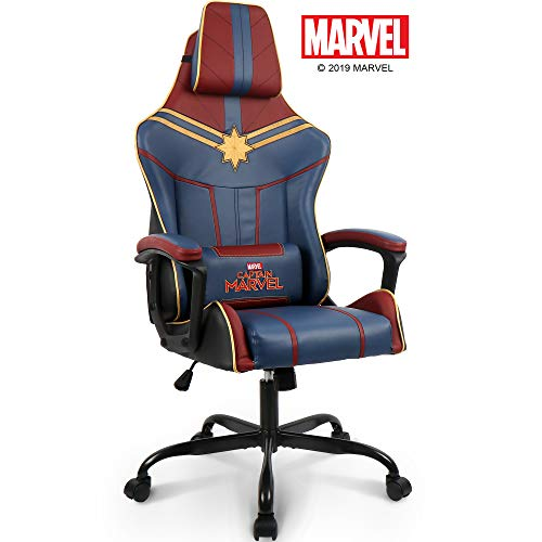 Marvel Avengers Captain Marvel Gaming Chair High End Ergonomic Neck Lumbar Support Armrests Tilting Computer Desk Office Executive Leather Racing Chair blue chair gaming
