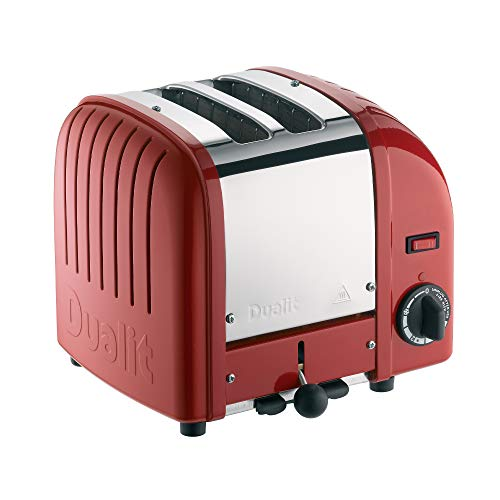 Dualit Classic 2 Slice Vario Toaster | Stainless Steel, Hand Built in the UK| Replaceable ProHeat Elements | Heat Two or Four Slots, Defrost Bread, Mechanical Timer | Replaceable parts |Red, 20246