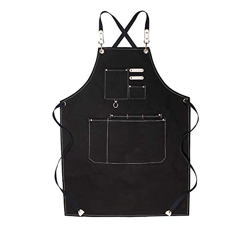 Delantal profesional del cocinero para hombres, correa de hombro ajustable y delantal de la correa cruzada de bolsillo para el chef barbero lienzo con los bolsillos, tamaño M-XXL,Negro