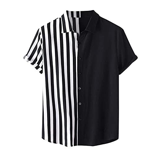 D-Rings Camisa hawaiana de verano para hombre, estilo étnico, estampado hawaiano, cuello alto, algodón y lino, a rayas, manga corta, suelta, para vacaciones en la playa, 32, XL
