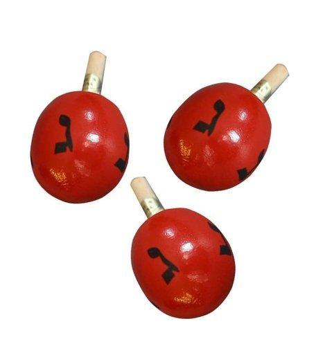 Review Hanukkah Chanukkah Dreidel Wood, 3 x (Three DREIDELS), Red, Spins Really Well, 2.5 Tall, Per...