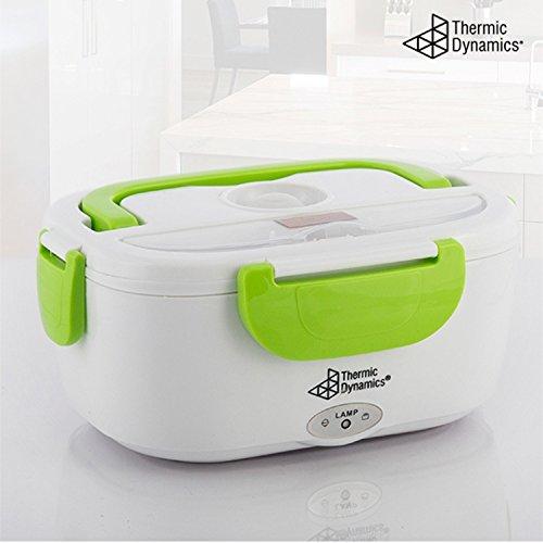 Thermic Dynamics Lunchbox Fiambrera Eléctrica y Cuchara, Blanco y Verde, 23x10.5x16.5 cm
