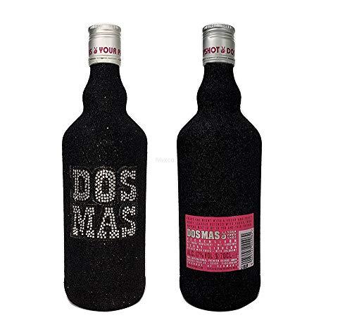 Dos Mas Pink Shot 0,7l 700ml (17% Vol) - Beerenlikör in Bling Bling/Glitzerflasche Schwarz.- [Enthält Sulfite]