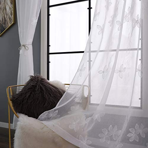Taisier Home Premium Floral Design Embroidered Sheer Curtains for Bedroom Tulle Ring Top Light Filtering Curtains Faux Linen Grommet Curtains for Living Room(2 Panels, 52W×95L,White Flower)