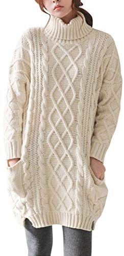 Liny Xin Women's Cashmere Knitted Turtleneck Long Sleeve Winter Wool Pullover Long Sweater Dresses Tops (M, Beige)