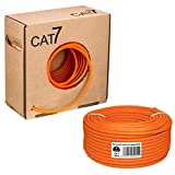 HB Digital Netzwerkkabel LAN Verlegekabel Cabel 100m cat 7 Kupfer S/FTP PIMF LSZH Halogenfrei orange RoHS-Compliant cat. 7 Cat7 AWG 23/1