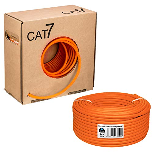 HB Digital Netzwerkkabel LAN Verlegekabel Cabel 100m cat 7 Kupfer S/FTP PIMF LSZH Halogenfrei orange RoHS-Compliant cat. 7 Cat7 AWG 23/1