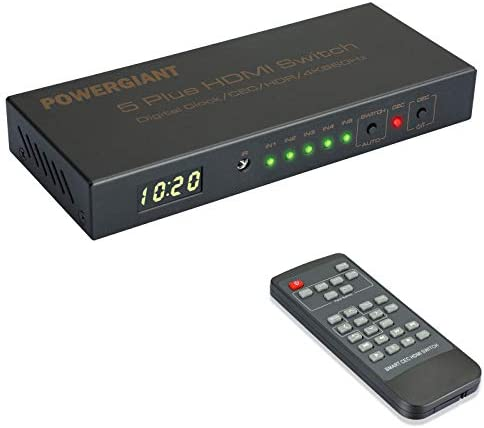 4K Smart HDMI Switch Box with Remote POWERGIANT 4K 60 Hz 5 in 1 Out Auto Switcher HDMI Splitter product image