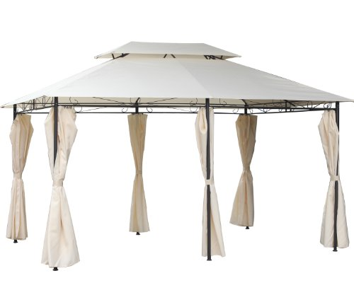 FoxHunter BIRCHTREE Premium 3m x 4m x 2.6m Beige Garden Pavilion Patio Gazebo Powder Coated Steel Pole 180G Waterproof Canopy Tent Awning Marquee G008C