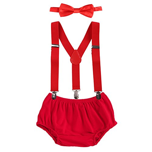 Baby Boys Cake Smash Clothes Diaper Suspenders Pants Bow Tie 3PCS Set First 1st 2nd Birthday Outfit for Photo Prop Party Red 3-24 Months