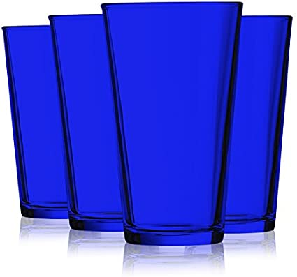 Handmade Pint Glass Blue Rim set of 6