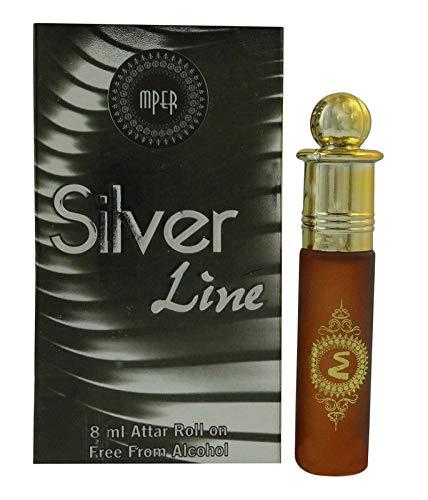 Oud Silver Line Attar Parfums Concentré Attar Roller Flacon 8 ml Fabriqué en Inde