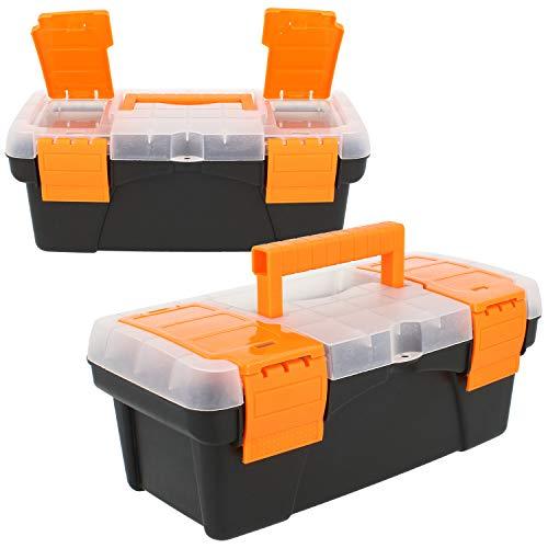 com-four® 2X Werkzeugkiste leer - Mini-Werkzeugbox mit Deckel und Tragegriff - Kleiner Werkzeugkoffer für Zubehör (02 Stück - Werkzeugbox leer)