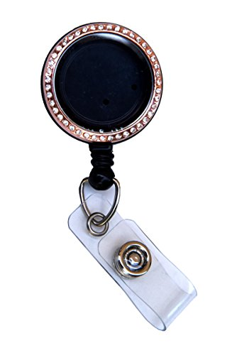 Rhinestone Lined Memory Locket ID Badge Reel/ID Badge Holder (Rose Gold (Stones))