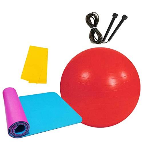 MOTOCO Pilates Gymnastikmatte, Yoga Ausrüstung Beinhaltet 1 Balance Ball + 1 Yogamatten + 1 Springseile + 1 Widerstandsband – für Gym Yoga Sport Bodenübung(180X60X1CM.Rot)
