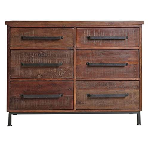 STUFF Loft Cassettiera in legno anticato con 6 cassetti della collezione Factory - Dimensioni: 116 x 46 x 90 cm (L x P x A)