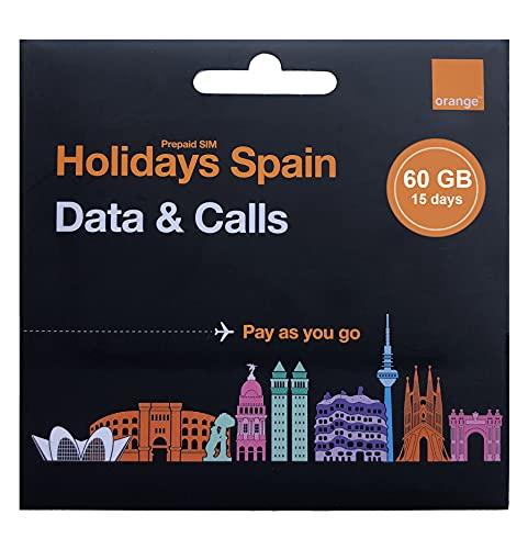 Orange - Tarjeta SIM Prepago Holidays Spain | 60 GB en España | 14 GB de Europa | Activación Solo Online | Número Móvil Español