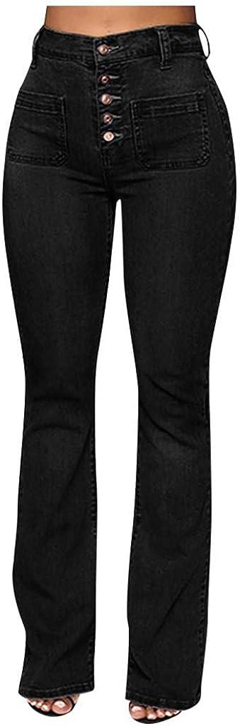 Larisalt Jeans for Women Mid Waist with Pocket, Womens Button Slim Fit Boyfriends Jeans Flared Skinny Denim Pants Plus Size