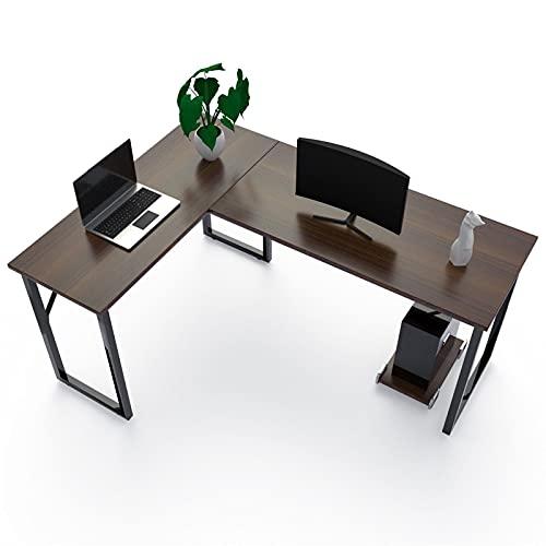 Escritorio de Ordenador en Esquina, en Forma de L, para Ordenador o de Esquina, para el hogar y la Oficina, 143 x 110 x 75 cm (Nogal Negro)