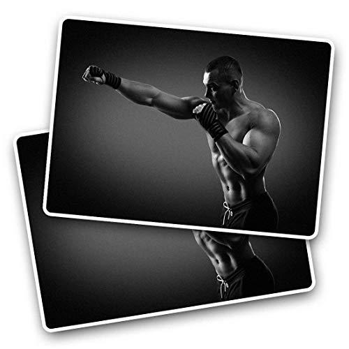 Fantastico adesivi rettangolari (set da 2) 7,5 cm – Boxer Boxing MMA Gym Fitness Fun decalcomanie per computer portatili, tablet, bagagli, scrapbooking, frigoriferi, ottimo regalo #42622