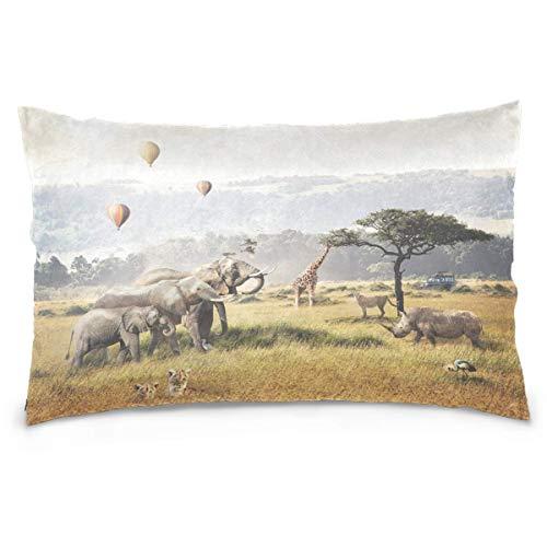 JONINOT Animal Elephant Cheetah Rhino Giraffe Hot Air Balloons Cotton Pillowcase Decorative Soft Pillow Case Cover Protector 20 X 30 Inches