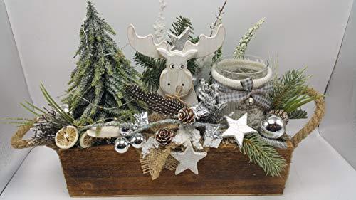 Weihnachtsgesteck Adventsgesteck Kunstfloristik Windlicht Elch Kugeln beleuchtet
