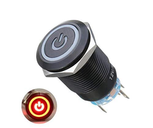 12 V 19 mm 5 Pin DEL Lumière Feu missiles Bouton Poussoir Interrupteur Momentané en métal argenté
