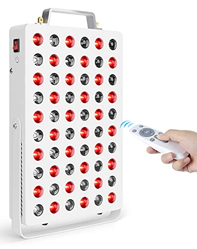 Red Infrared Light, Serfory Deep Red Light 660nm and Near Infrared Light 850nm Combo, Remote Control with Timing, Door Hanger, Cooling Fans, 60 LEDs