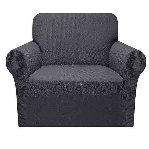 Granbest - Funda de sofá extensible con diseño de rayas, funda de sillón duradera, 1 pieza universal (1 plaza, gris)