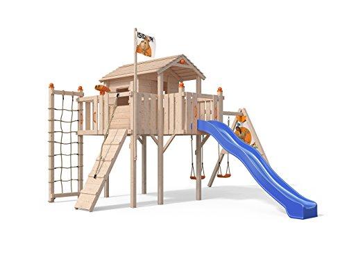 Oskar Terrizio XL-Spielturm Baumhaus mit Schaukelanbau, Rutsche, Doppelschaukel, Kletterrampe, Kletternetz und Spielhaus auf 1,50 Meter Podesthöhe