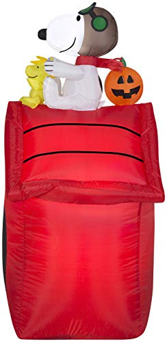 Gemmy Airblown Inflatable Snoopy as Red Barron and Woodstock on Doghouse with Pumpkin - Indoor Outdoor Holiday Yard Decoration, 3.5-Foot Tall
