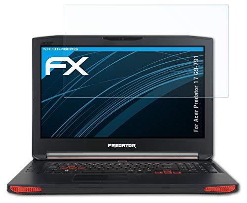 atFolix Schutzfolie kompatibel mit Acer Predator 17 G9-791 Folie, ultraklare FX Bildschirmschutzfolie (2X)