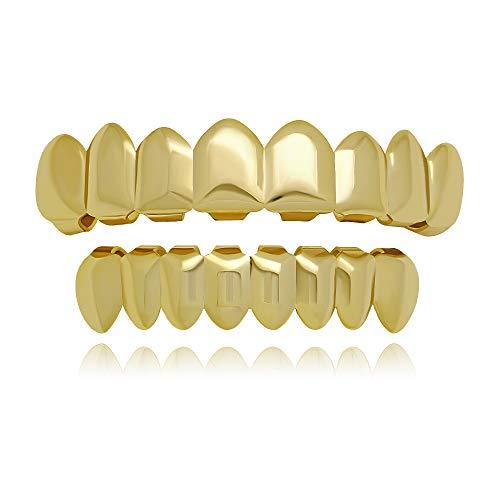 LuReen 8 Teeth Grillz 14k Gold Top and Bottom Grills Set Shiny Hip Hop Teeth Grillz + Extra Molding Bars