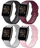 AK 4er-Set Kompatible für Apple Watch Armband 38mm 42mm 40mm 44mm, Weiche Silikon Ersatz Armband für Apple Watch Series SE 6 5 4 3 2 1 (Schwarz/Grau/Weinrot/Rosa, 38mm/40mm-S/M)