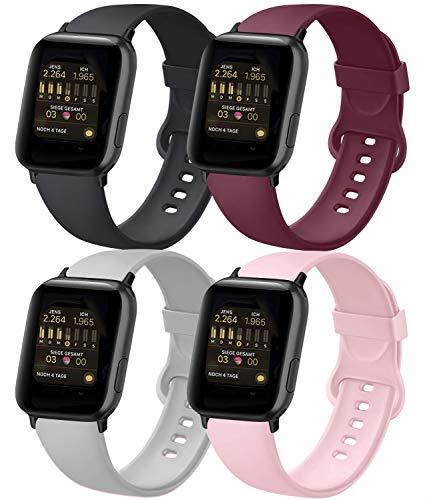 AK 4er-Set Kompatible für Apple Watch Armband 38mm 42mm 40mm 44mm, Weiche Silikon Ersatz Armband für Apple Watch Series SE 6 5 4 3 2 1 (Schwarz/Grau/Weinrot/Rosa, 38mm/40mm-M/L)
