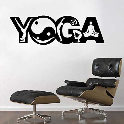 JXMN Etiquetas engomadas del Arte del Contorno del Cuerpo y de la Pared de la Palabra del Yoga Calcomanías budistas para la decoración de la Sala de Estar y el Dormitorio. 102x30cm extraíble