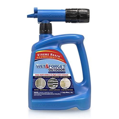 Wet & Forget Roof and Siding Cleaner for Easy Removal of Mold, Mildew and Algae Stains, Bleach-Free Formula, 48 OZ. Hose End,805048,Blue