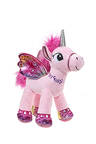 BARRADO Peluche Unicornio con alas de pie - Calidad Supersoft (Rosa, 34cm)