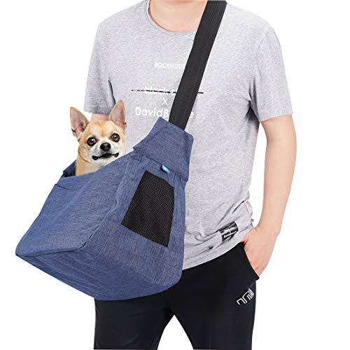 COOLBEBE Upgraded Pet Dog Sling Carrier for Small Dogs Cat up to 15~17lbs, Hands-Free Pet Puppy Travel Bag - Adjustable & Lightweight, Machine Washable, Blue
