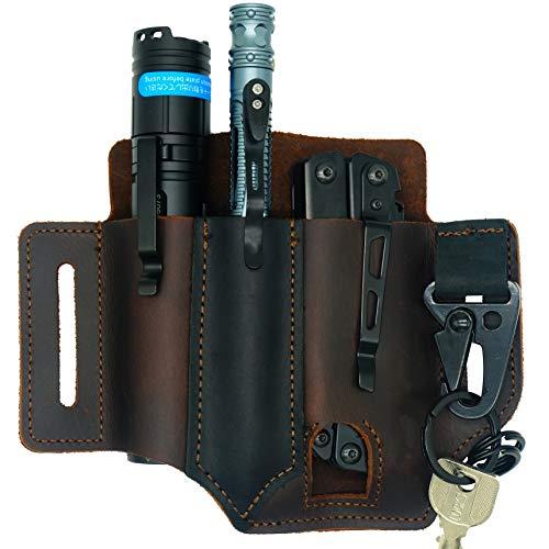 WILNARA EDC Leather Pocket,Retro Flashlight Holster Knife...