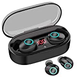 True Wireless Earbuds, 20H Playtime, Volume Control, Bluetooth Headphones 5.0 Mini Stereo Headset with Microphone, IPX5 Sweatproof, Hi-Fi Sound, in Ear Earphones with Portable Charging Case Black